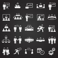 Teamworking set on black background icons