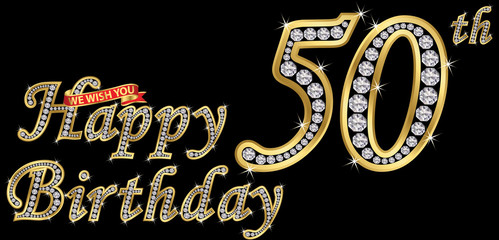 50 years happy birthday golden sign with diamonds, vector illustration