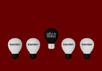 """weiße Glühbirnen mit dem Text """"Black Friday"""" und eine schwarze Glühbirne mit dem Text """"Sale"""" auf rotem Hintergrund."""