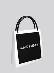 """schwarz-weiße Einkaufstasche mit dem Text """"Black Friday"""". 3d rendering"""
