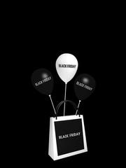"""schwarz-weiße Einkaufstasche und Luftballons mit dem Text """"Black Friday"""". 3d rendering"""
