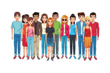 friends young people cartoon