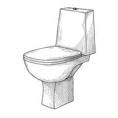 Sketch of toilet bowl isolated on white background.