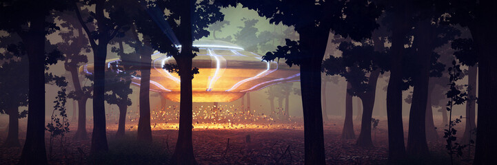 UFO landing in the forest at night, science fiction scene with alien spaceship and mysterious lights Wall mural