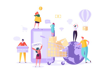 Woman Shop Online Using Smartphone. E-commerce, Consumerism, Retail, Sale Concept. Characters Shopping Mobile Purchase. Vector illustration