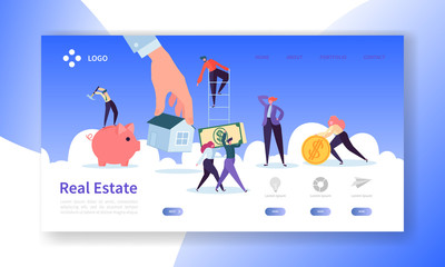 Real Estate Landing Page. Investment in Property Banner with Flat People Characters Buying Apartments Website Template. Easy Edit and Customize. Vector illustration