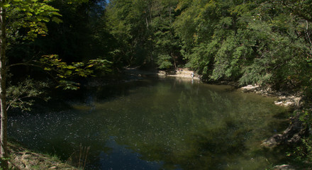 Stretch of the Areuses river in the Gorges de l'Areuses near Neuchastel, Romandie