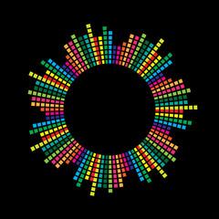 circle mosaic equalizer  design isolated on black background