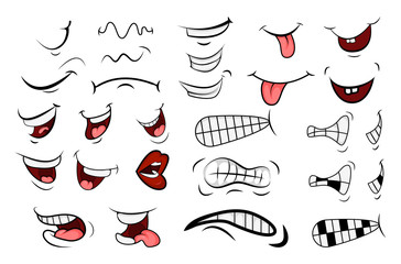 Cartoon Mouth Set. Tongue, Smile, Teeth. Expressive Emotions. Simple flat design isolated on white background