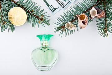 fir tree seashell perfume bottle bitcoin coin money dollar studio