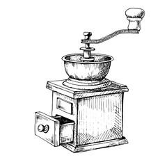 Retro manual coffee grinder or mill sketch in vintage style.