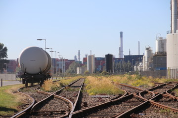 Tank wagon waiting for oil transport between refineries on the Vondelingenplaat harbor in the port of Rotterdam