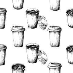 Seamless pattern of a cup of coffee. Vector illustration of a sketch style.