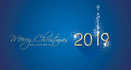 Merry Christmas beautiful calligraphy New Year 2019 firework gold white blue greeting card vector