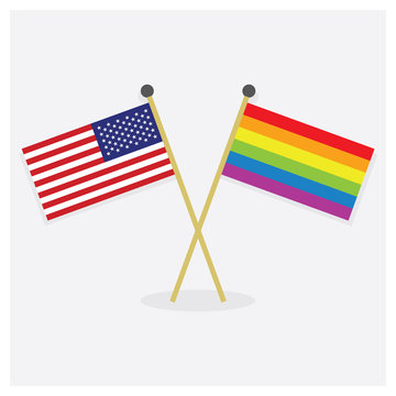 Crossed United States of America flag and colorful Pride rainbow flag icons with shadow on off white background