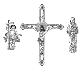 Depiction of child Jesus Christ son of God, then crucifixion on cross for people sins at mount Golgotha and resurrection. Hand drawn art sketch. Vector.