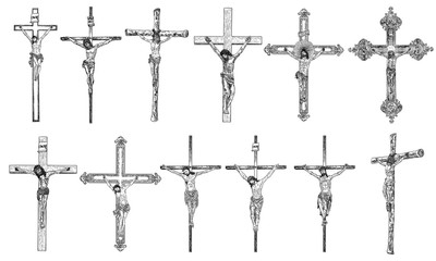 Set of hand drawings of Jesus Christ on the cross. Son of God crucifixion for people sins Vector.