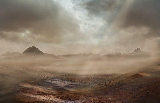 Fantasy desert landscape with sandy storm and strom clouds