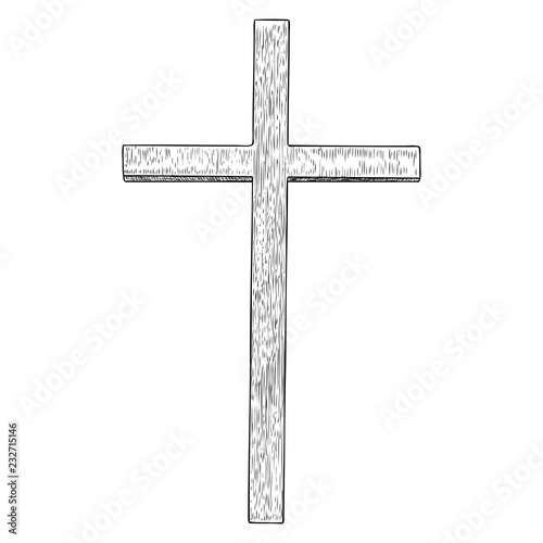 8062029430e86 Hand drawn cross. Christian and catholic cross isolated on white  background. Element for Holy week tradition or Good Friday. Vector.
