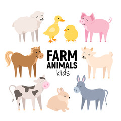 Cute farm animals cow, pig, lamb, donkey, bunny, chick, horse, goat, duck isolated. Domestic animals kid set vector illustration