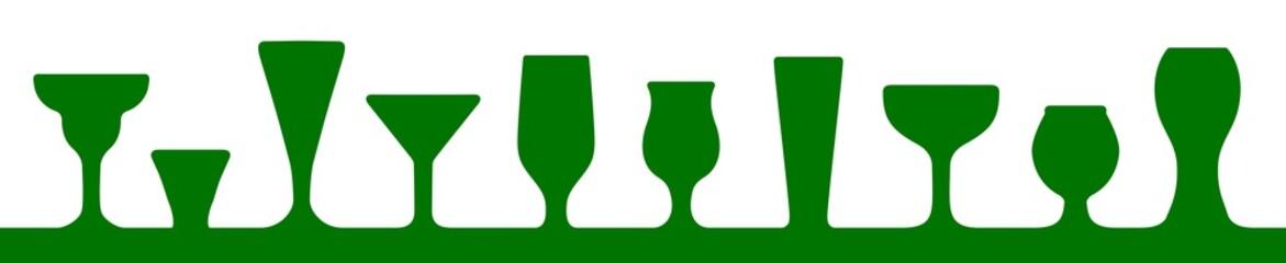 Bar glasses icons set. Wine glass, cups, mugs – stock vector