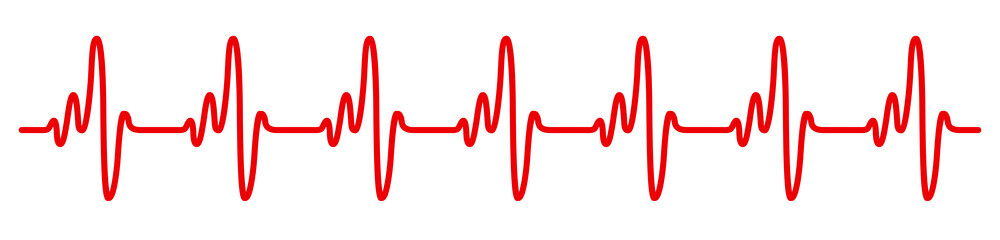 Heart pulse, cardiogram sign, heartbeat, one line - vector illustration