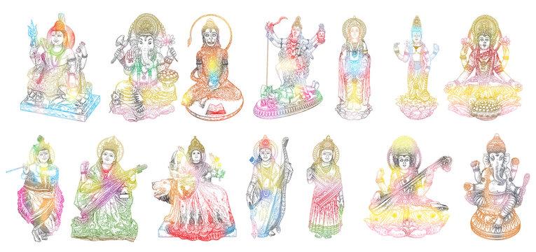 Set of Gods for Indian festival, Goddess Durga, Lord Rama and Hanuman. Lord Ganpati or Ganesha, Shiva and Lakshmi his wife. Lord Vishnu,  Saraswati, Devi Parvati  and Lord Murugan, Kali. Vector.