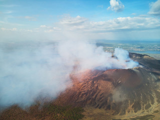 Steam come from masaya volcano