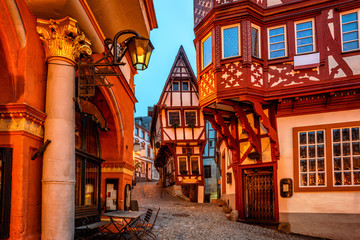 Half-timbered houses in medieval Old Town of Bernkastel, Moselle valley, Germany
