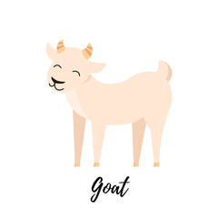 Cute goat kid isolated. Domestic animal vector illustration