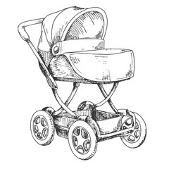 Sketch of a baby stroller. Vector illustration
