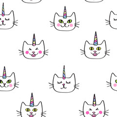Caticorn Cat unicorn Seamless repeat half-drop pattern