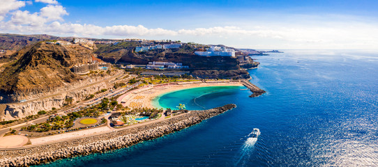 Stores photo Iles Canaries Aerial view of the Gran Canaria island near Amadores beach