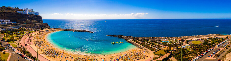 Aerial panorama view of the Amadores beach on the island of Gran Canaria, Spain.