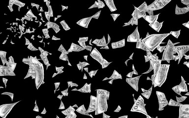 Flying dollars banknotes isolated on dark background. Money is flying in the air. 100 US banknotes new sample. Black and white style. 3D illustration