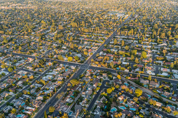 Aerial view of streets and homes near Lassen St and Corbin Ave in the San Fernando Valley region of Los Angeles, California.