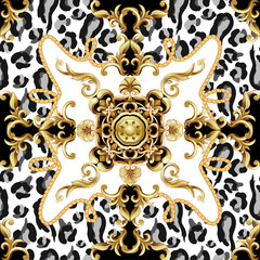 Seamless pattern with leopard skin and golden baroque elements. Vector.