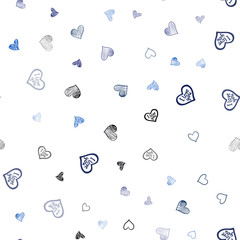 Dark BLUE vector seamless cover with Shining hearts.