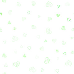 Light Green vector seamless template with doodle hearts.