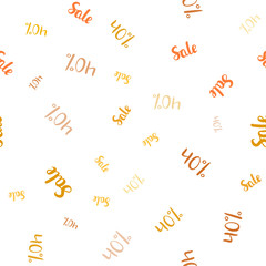 Light Orange vector seamless background with 40 % signs of sales.