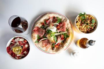 Focaccia and salad
