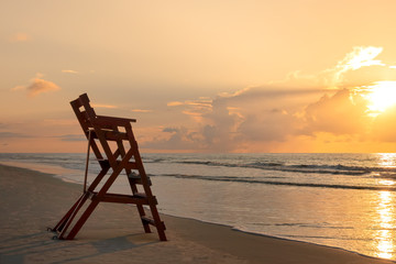 Life Guard Chair on the Beach in the early morning, St Simons Island, GA
