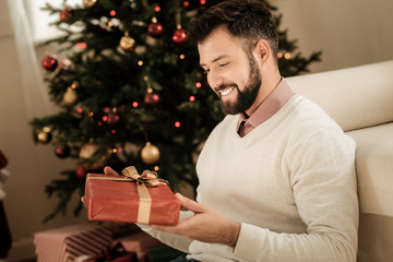 New Year present. Happy delighted nice man holding a present and smiling while looking at it