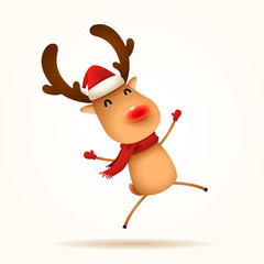 The red-nosed reindeer jumps. Isolated.