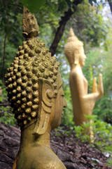 Golden Buddhist statues in the forest on Mount Phusi, Luang Prabang province, Laos.
