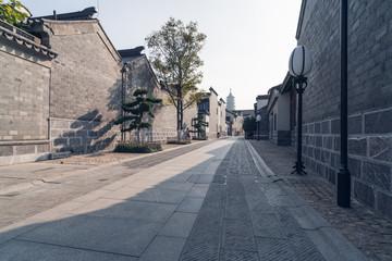 Empty road near vintage building in Nanjing