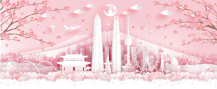 Panorama travel postcard, poster, tour advertising of world famous landmarks of Korea, autumn season with falling flowers in paper cut style. Vector illustration.