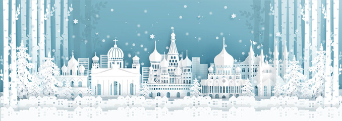 Wall Mural - Panorama postcard and travel poster of world famous landmarks of Russia in winter season in paper cut style vector illustration