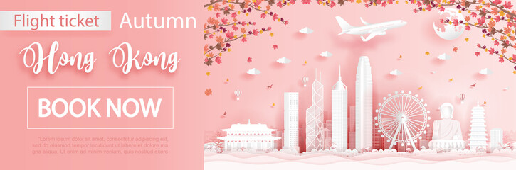 Fototapete - Flight and ticket advertising template with travel to Seoul, South Korea  in autumn season with falling maple leaves and  famous landmarks in paper cut style vector illustration