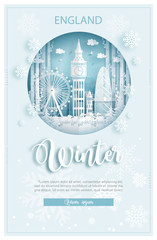 Fototapete - Winter in London, England for travel and tour advertising concept with world famous landmark in paper cut style vector illustration.